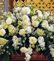 Pure White Casket Flowers
