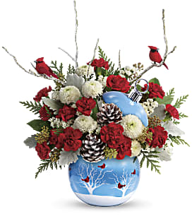 2018 christmas teleflora cardinals in the snow large image