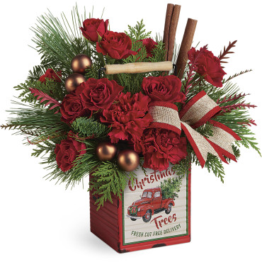 2019 Christmas Teleflora Merry Vintage Christmas Bouquet Large Image